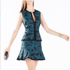Suni Feather Jacquard Peplum Dress